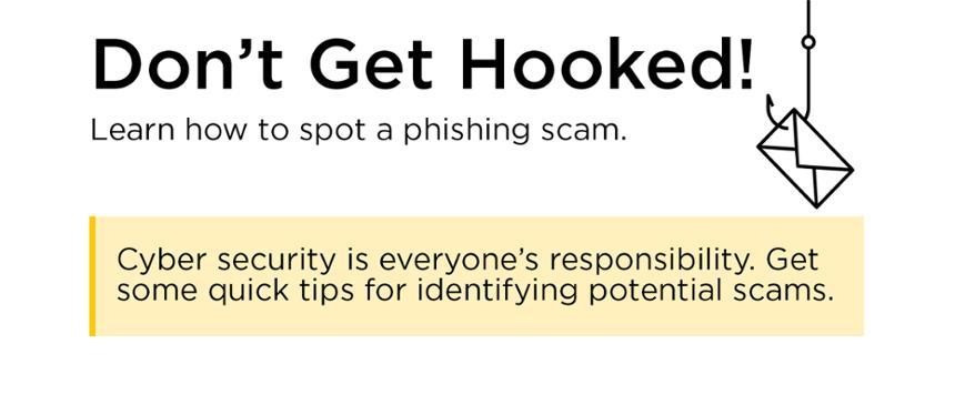 banner image linking to tips for identifying phishing scams