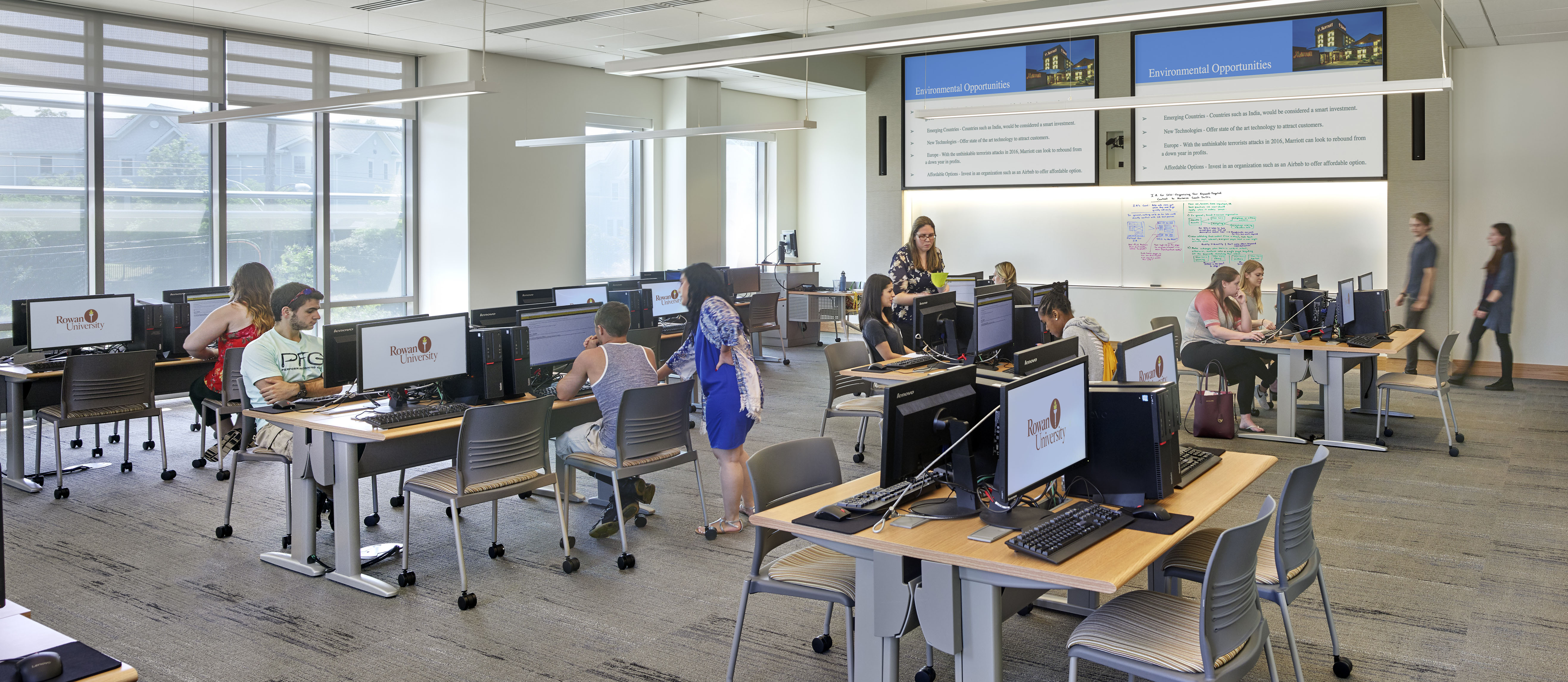 image of students and faculty in a technology-enhanced classroom at Rowan University