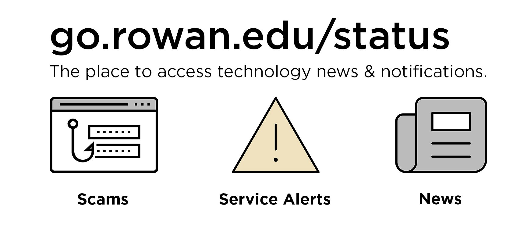Banner image that provides link to go.rowan.edu/status, says that link is the place to access technology news & notifications, including information about scams, service alerts and news.