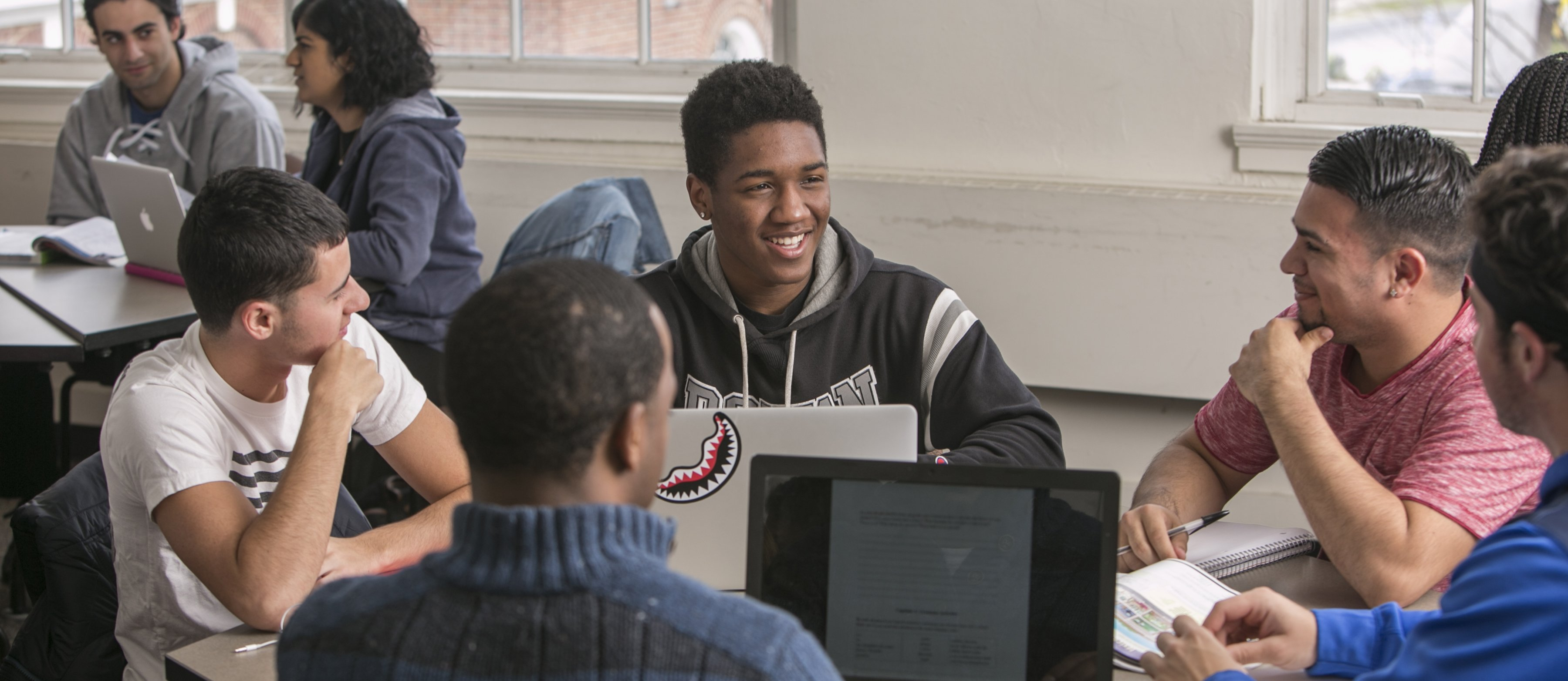 students on laptops